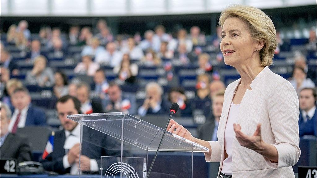 Ursula_von_der_Leyen EU Commission speaking at the EU parliament