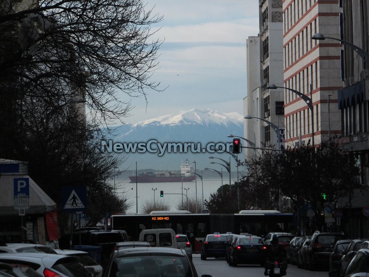 Thessaloniki Greece. A photo on Ethniki Aminis looking towards Mount Olympus